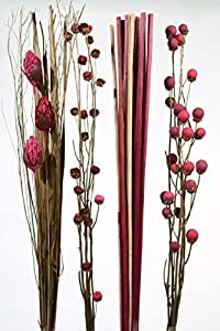 Mazzo fiori secchi cm.100 ross - Addobbi natale-pasqua KAEMINGK