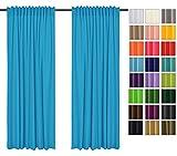Sonnenschutz und Sichtschutz 2er Pack Vorhänge mit Tunnelband (Blau 41, 135x260 cm - BxH) Dekorative Blickdicht 2 Stücke Gardinen, Vorhang Schal für Schlafzimmer, Kinderzimmer, Wohnzimmer 40 FARBEN!!