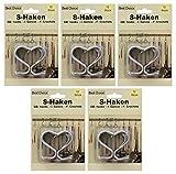5 Packungen á 12 Stück S-Haken von Jean Products (Best Choice) # Metallhaken verchromt # Küchenhaken # Werkstatthaken # Badhaken # für Lochwände, Wandgitter und Metallstangen (5)