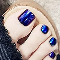 BloomingBoom 24 Pcs 12 Sizes Full Cover False Fake Nail Toes Toenail Artificial Design Nail Art Tips Pre Design Press On Already Colored Mirror Effect Metallic Laser Pearl Navy Blue