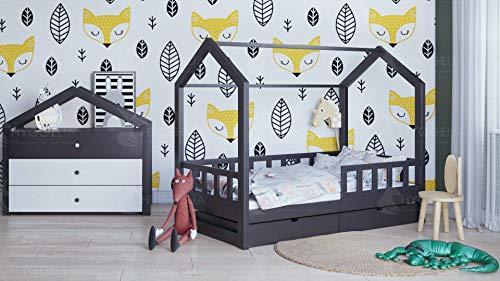 Twin-betten Schubladen (Kinderbett Kinderhaus mit Schranken und einer Schublade Bonnie Holzbett für Kinder Jugendbett Natur Haus Holz Bett mit oder Jugendbett Juniorbett (97 x 203 cm (Twin Extra Long), Gemalt (Farbe wählen)))