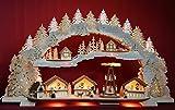 3D Räucher-Schwibbogen Weihnachtsmarkt mit Pyramide im Erzgebirge 72x41cm -Handarbeit aus dem Erzgebirge