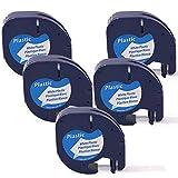 Compatible con Dymo LetraTag Etiquetas de plástico 91201,Casete de Cinta para LetraTag LT110T LT100H LT100T QX50 XR XM 2000 Plus Impresora de etiquetas,Negro sobre Blanco, 12mm x 4m, 5-pack