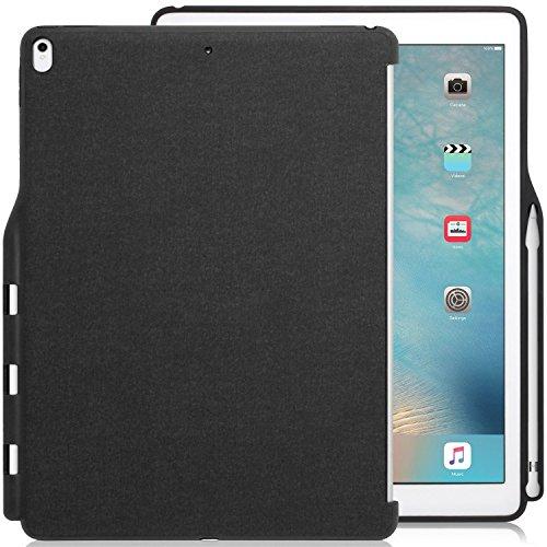 KHOMO iPad Pro 12.9 (2017) Rückseite Abdeckung Case Hülle Schutzhülle Kompatibel mit Smart Cover, Tastatur & Apple Pencil 1 Halter - Dunkelgrau