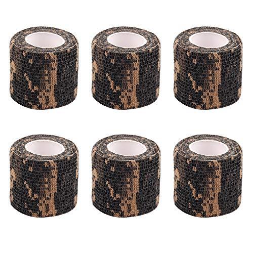 AIRSSON 4.5M Tarnungs Band, Selbstklebend Wiederverwendbar Taktisches Camouflage Band, Schutzband Tarnungszubehör Dekor Stretch Bandage Camo Tape für Jagd(6 Pack)