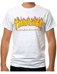 T-SHIRT THRASHER MAGAZINE FLAME BLANC