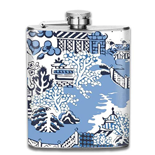 FGRYGF Pocket Container for Drinking Liquor, Blue & White China Blue Willow Bathmat Rug 7 Oz Printed Stainless Steel Hip Flask for Drinking Liquor E.g. Whiskey, Rum, Scotch, Vodka Rust Great Gift Vintage Blue Willow