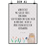 Mr. & Mrs. Panda Wandposter, Geschenk, Poster DIN A1 Otter mit Stein mit Spruch - Farbe Grau Pastell