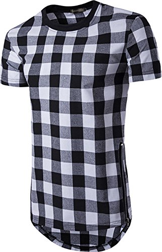 Sportides Herren Fashion Plaid Short Sleeve Longline Side Zipper T-Shirt Tee Tops JZA039 Black XS (Plaid Short Top Sleeve)