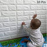 3D Brick Wall Stickers, Brick Pattern Three-dimensional Wall Wallpaper, Family Adhesive Safety and Environmental Protection Simple Style Wall Wall Rol for Background TV Bedroom Living Room Decor 60*60CM by YTAT (10)