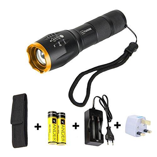 LED Taschenlampe / Taktische Taschenlampe Outdoor Handlampe Wasserfest CREE XM-L T6 Wiederaufladbar LED Taschenlampen Extrem Super hell 5000 Lumen aufladbar , 5 Modi, Wandern ,Mit 18650 Batterie (Gold Black)