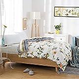Unbekannt WLL Modernen Minimalistischen Stil Gestreifte Blumen/Blumen 100% Baumwolle Bettbezug - F220*240 cm (87 x 94 Zoll)