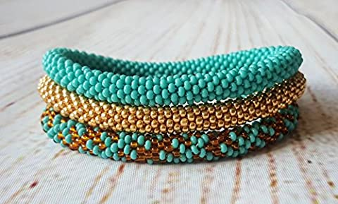 Nepal Roll On Beaded Bracelet Turquoise Gold Bangle Seed Beads Wristband