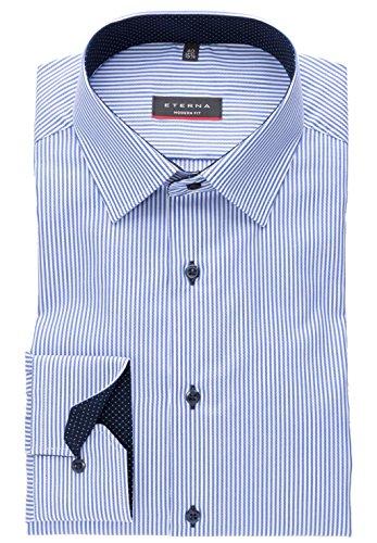 eterna Modern Fit Langarmhemd Citystreifen 8992-16-X14P, Größe 41, Farbe Blau