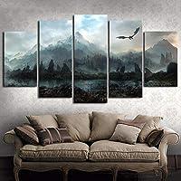ZYUN 5 Piezas Ilustraciones Mural Imagen HD Game of Thrones Dragon Skyrim Pintura Al Óleo Mural sobre Lienzo Sala Decoración,B,30×40x2+30×60x2+30x80×1