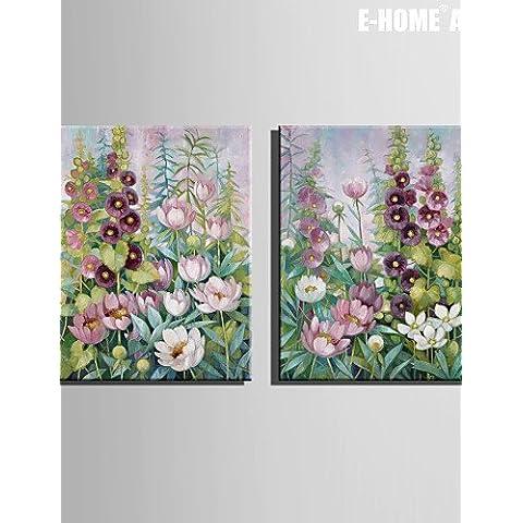 Tela tesa Arte Fiori in cluster pittura decorazione Set di 2 , 20