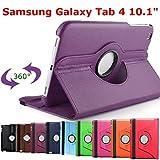 HTM VIOLET pour Samsung Galaxy Tab 4 10.1 pouces T530/T531/T535/T5310 avec 1 Stylet Offert- Housse Pochette Multi Angle ROTATIVE 360 - Nombreuses couleurs disponibles - Coque Etui en PU CUIR, rotation à 360°