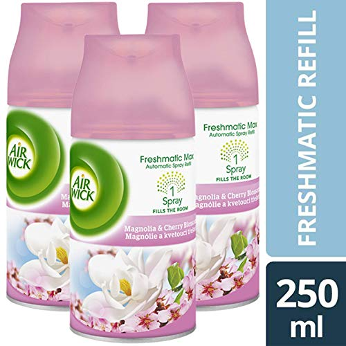 3 x Max Air Wick Freshmatic Refill 250 ml)-Magnolia &Kirschblüten -