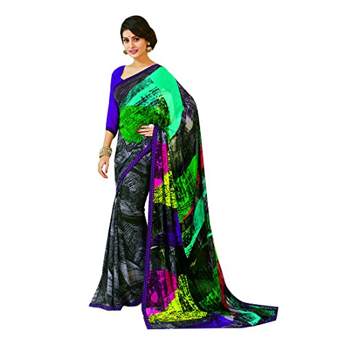 Subhash Sarees Black Color Georgette Printed Saree  available at amazon for Rs.1016
