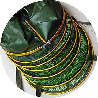 Seesaw-Min en Alliage d'aluminium Appât de pêche Fyke Filet de pêche Emplacement Net Porte-Cage de Poissons avec Sac, Dia33Cm Length200Cm