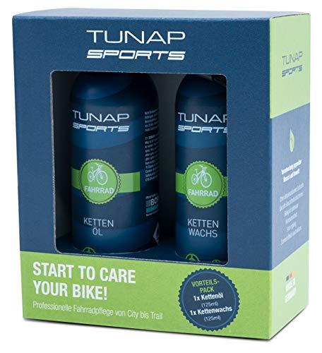 TUNAP SPORTS Schmierset mit Kettenöl und Kettenwachs, 2 x 125 ml   Fahrrad Langzeit-Schmierung für Ritzel, Schaltwerk und Kette 2 Line-basis