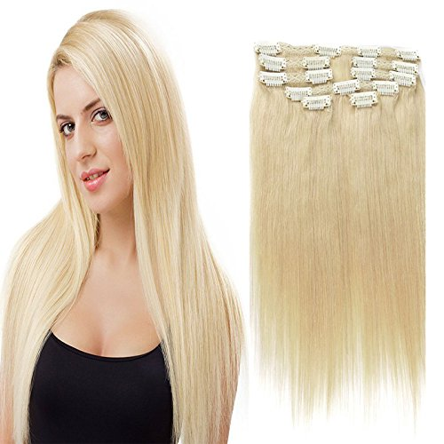 Echthaar-extensions Licht (Clip In Hair Extensions gerade blonde Remy Echthaar mit Doppel-Tresse, seidig Clip in Hair Extensions Echthaar 9 A Grade 27 # Farbe (85 g, 45,7 cm) (16 inches (613 color)))