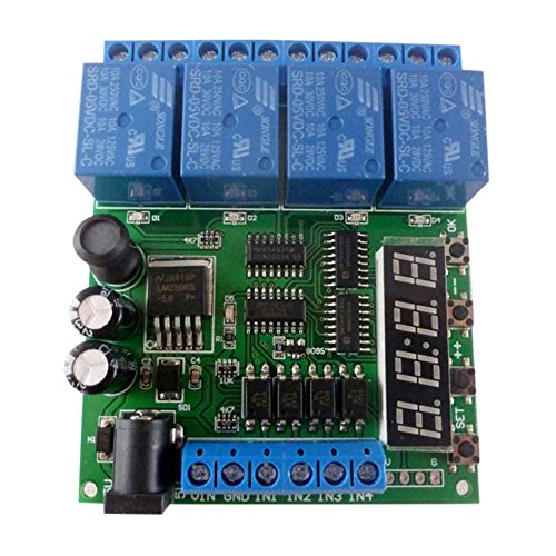 Preisvergleich Produktbild KKmoon DC 12 V 4CH Digital Verzögern Zeitsteuerung Relais Schalter, Digitale Rohr Multifunktionsverzögerung LED Zeitrelais Selbstsichernde Smart Home