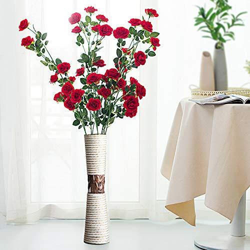 Vase Handweberei Tulpe Simulation Blume Home Deco Stetig Dauerhaft Weiß Braun Sonnenblume Rebe Grüne Pflanzen Elegant und schön/J/Einheitsgröße