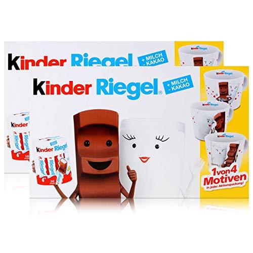 Preisvergleich Produktbild Ferrero Kinder Riegel 10er Packung 210g Schokolade & eine Milky und Schoki Sammel-Tasse aus Porzellan (2er Pack)