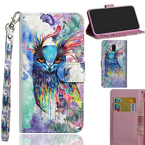 Ooboom Samsung Galaxy J6+ Plus Hülle 3D Flip PU Leder Schutzhülle Handy Tasche Case Cover Ständer mit Kartenfach Trageschlaufe für Samsung Galaxy J6+ Plus - Bunt Eule