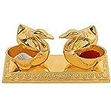 #6: India Get Shopping Golden Metal Love Bird Duck with Chandan Roli Chopda Pair For Gift