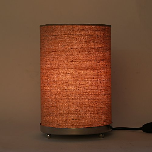 Craftter Handloom Matka Silk Brown Fabric Round Small Table Lamp Bedside Table Light Night Lamp ...