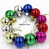 SLIMME KOPER 12pcs Christmas Decoration Hanging Multi Color Balls Small Christmas Tree Decor Ball Bauble Hanging Home Xmas Party Ornament Decor(Pack of 12)