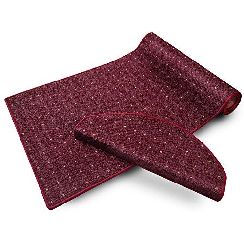 casa pura® Stufenmatten | mit Punkt Muster | GUT-Siegel, made in Germany | kombinierbar mit Läufer | 65x23,5 cm | flieder / bordeaux rot | halbrund, 1 Stück