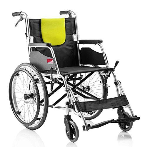 MTX Ltd Seniorenausstattung Rollstuhl-Falt-Leichtgewichts-Rollstuhl, Verstellbares Pedal, Leichter Aluminium-Klapprollstuhl, Abnehmbare, Verstellbare Armlehne, Manueller Rollstuhl,Gelb,A