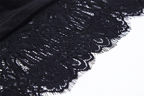 Luna et Margarita Petite Robe Noire De Cocktail En Dentelle Et Velours 2 Pièces Empiècement En Maille noir en velours et dentelle