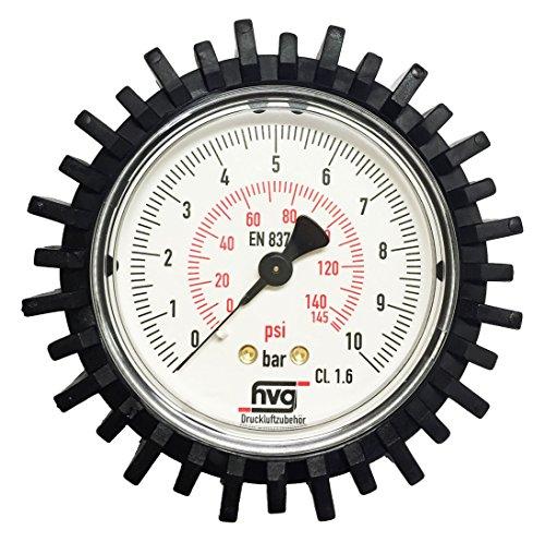 """Preisvergleich Produktbild Manometer Reifenfüller 10 bar 145 psi,  G1 / 4"""" 63 mm WIKA mit Gummischutzkappe"""