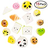 Mini Soft Squishy Bread, CiaraQ Party Bag Fillers Gifts Party Favors for Kids Cute Kawaii Toy Slow Rising Stress Relieve Squeeze Lovely Key Chain Strap Charms Pendent Decoration (Style Random)