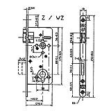 SECOTEC Tür-Einsteckschloss mittelschwer Profil-Zylinder mit Wechselfunktion Dornmaß 60 mm, 1 Stück