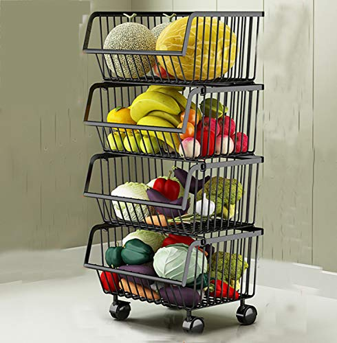 Metall Draht Körbe Trolley, 4-Tier stapelbare Korb Veranstalter Bin Rolling Utility Cart Rack für Gemüse, Obst, Küche Speisekammer - schwarz -