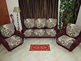 RSHP REVERSIBLE JUTE COTTON SOFA COVERS FOR 5 SEATER GEOMETRICAL DESIGN