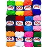 M.G Enterprises 12 pc Combo Wool Ball. Hand Knitting Art Craft Soft Fingering Crochet Hook Yarn, Needle Knitting Thread Dyed