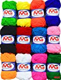 #1: M.G Enterprises 12 pc Combo Wool Ball. Hand Knitting Art Craft Soft Fingering Crochet Hook Yarn, Needle Knitting Thread Dyed