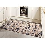 Alfombra moderna, tejido plano, gel-corredores, alfombra cocina, café Marrón Beige Negro (Traumteppich) Größe 80 x 300 cm