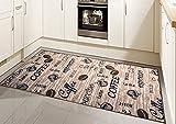 Teppich Modern Flachgewebe Gel Läufer Küchenteppich Küchenläufer Braun Beige Schwarz mit Schriftzug Coffee Cappuccino Espresso Latte Größe 80 x 300 cm