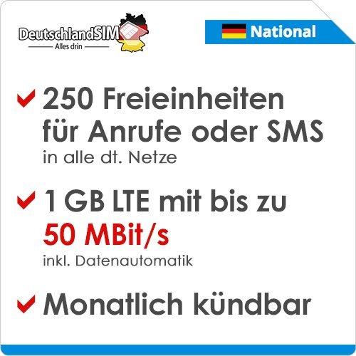 DeutschlandSIM LTE 750 National [SIM, Micro-SIM und Nano-SIM] monatlich kündbar (4,99 Euro/Monat, 1 GB LTE mit max. 50 MBit/s inkl. Datenautomatik, 250 Freieinheiten für Anrufe oder SMS)