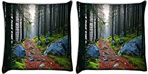 Snoogg White Stone Pack Of 2 Digitally Printed Cushion Cover Pillows 12 X 12 Inch