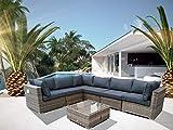 Luxurygarden - Divano ad Angolo XL in Rattan angolare con penisola Salotto da Esterno Piscina Andresa