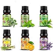 Set de aceites esenciales,100% Natural Puro Aromaterapia Aceite Aromático,6 x 10 ml (Lavanda, Hierba de Limón,