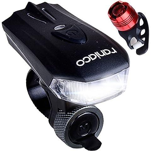 Raniaco de 400 lúmenes USB recargable de bicicletas luz conjunto, Caja de luz LED de la bici para el aire libre, blanco de la linterna brillante y rojo las luces traseras